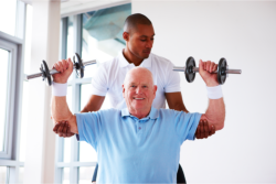 Elder doing physical therapy
